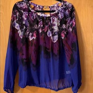Purple and blue floral blouse